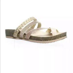 Sam Edelman glitter gold sandals footbed oakley